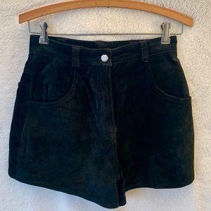 Harley Davidson black suede shorts,